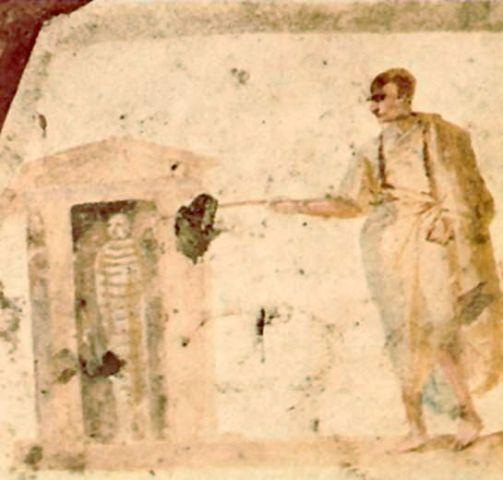 Воскрешение Лазаря. Фреска. Рим, III век.