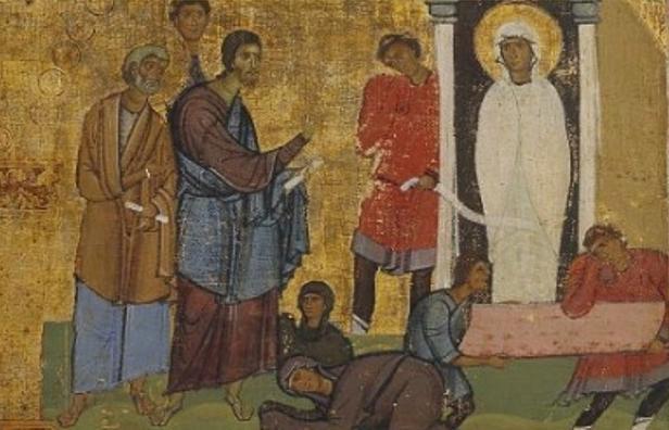 Воскрешение праведного Лазаря. Фрагмент архитрава с двунадесятыми праздниками.Синай. XII в.