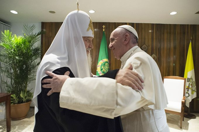 Pope Francis meets with Patriarch Kirill in Havana, Cuba on Feb. 12, 2016. Credit: L'Osservatore Romano.