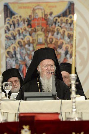 Выступление Константинопольского патриарха Варфоломея на открытии Критского собора. Фото: holycouncil.org