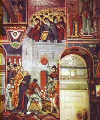 Изгарянето на 26-те зографски мъченици през 1275 г. Стенопис в съборната църква на Зографския манастир от монаха Митрофан, 1817 г.