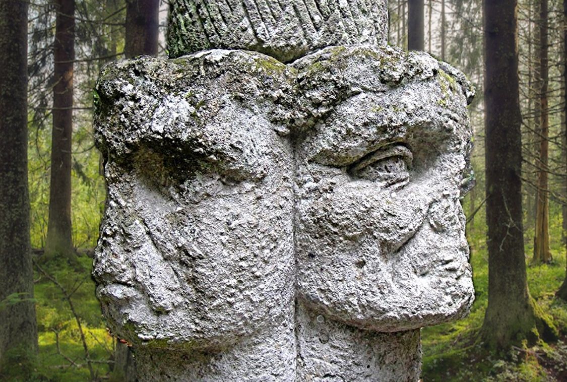 A grim Janus-faced column in the Park of the Monsters