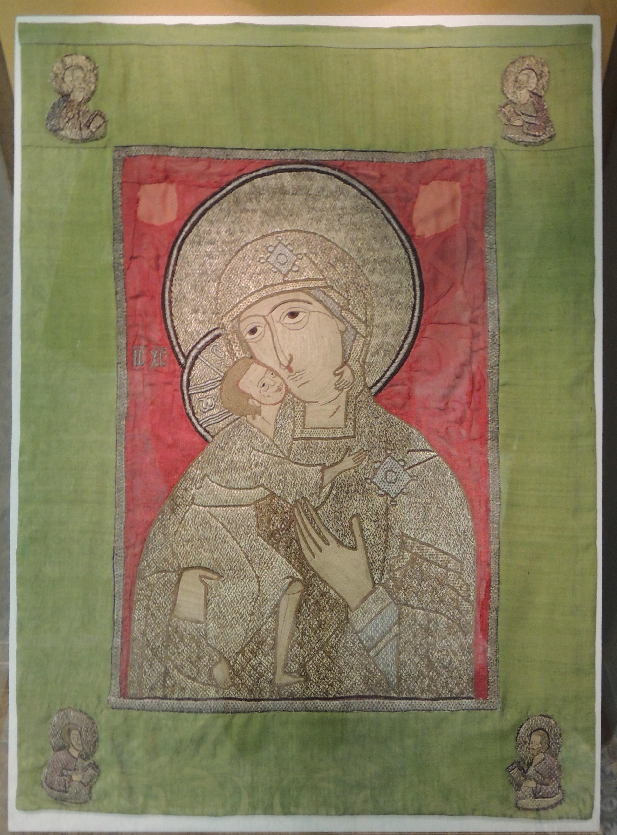 Пелена «Богоматерь Феодоровская», которая считается вкладом старицы Марфы, матери царя Михаила Федоровича, в Ипатьевский монастырь